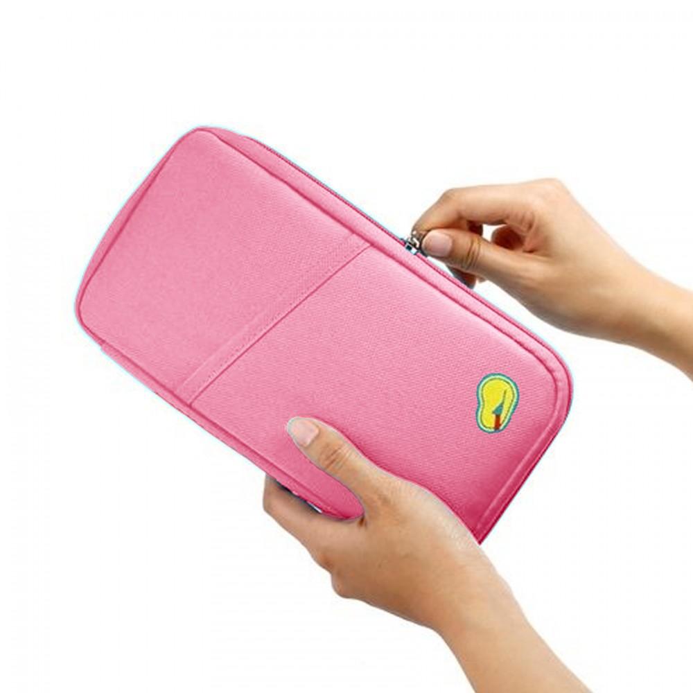 Passport Bank Card Cash Holder Organizer Wallet Purse - Pink