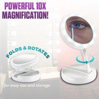 Fold Away Vanity Led Light Mirror - White