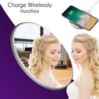 QI Mirror Wireless Charging Pad - Silver