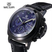 MEGIR SL3106G 1ATM Quartz Alloy Watch With Leather Strap - Black
