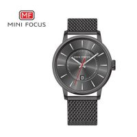 Mini Focus Casual Steel Mesh Strap Watch - Black