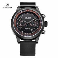 MEGIR 2001G Casual Chronograph Water Resistant Quartz Watch - Black