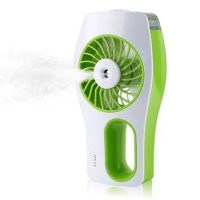 Handheld Rechargeable Fan With Water Mist Spray- Green