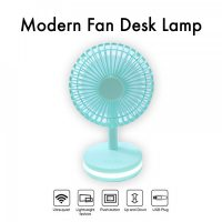 Rechargeable Fan With Base Lamp - Blue