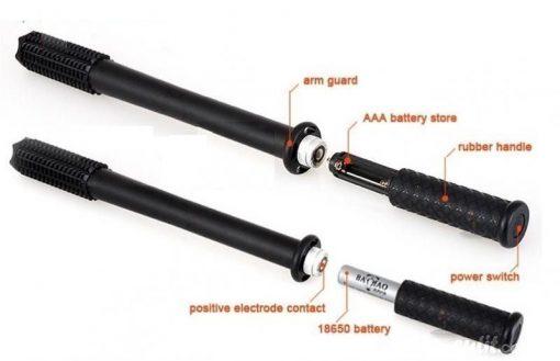 Multifunctional Safety Mace Baton With LED Flashlight - Black