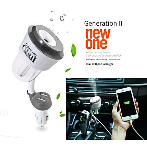 Nanum Car Humidifier II with Mobile Charger - White