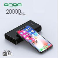 Onda QV200 20000 mAh PD Powebank With Type-C Output - Black