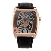 Oulm Mechanical Big Dial Leather Band Casual Watch - Gold