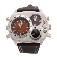 OULM Leather Sports Dual Time Zones Movements Quartz Watch - Brown