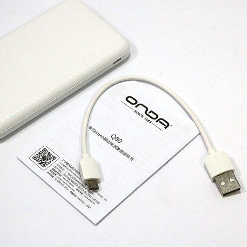 Onda Q8 Dual Port 8000 Mah Powerbank - White
