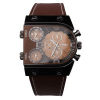 Oulm 3 Time Zone Sports Leather Military Army Watch - Black/Brown