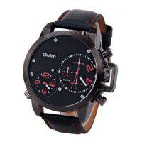 Oulm Dual Time Movements Quartz Wrist Watch - Red