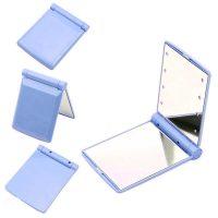 Pocket Makeup Mirror With LED Light - Blue