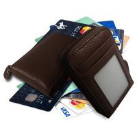 Leather Credit Card Wallet - Brown