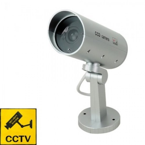 Realistic Dummy Security Camera With Red LED Light & Motion Detect - Silver