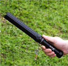 Retractable Baton With Rechargeable LED Flashlight