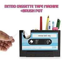 Cassette Tape Dispenser And Pen Holder - Blue
