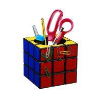 Magnetic Rubik's Cube Desk Tidy - Multicolor