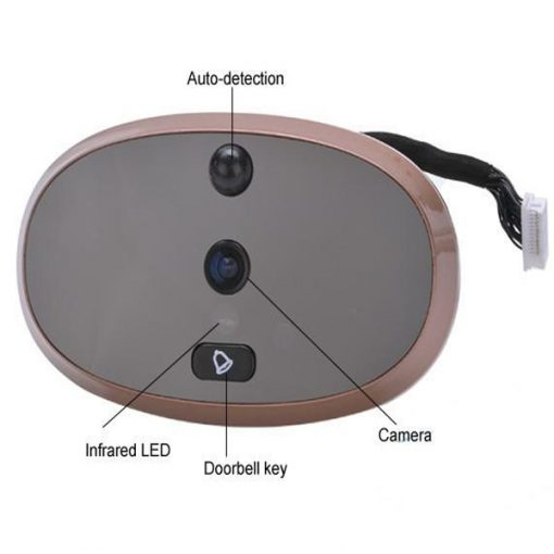 """3.5"""" LCD Electric Peephole Viewer With Door Bell - Brown"""