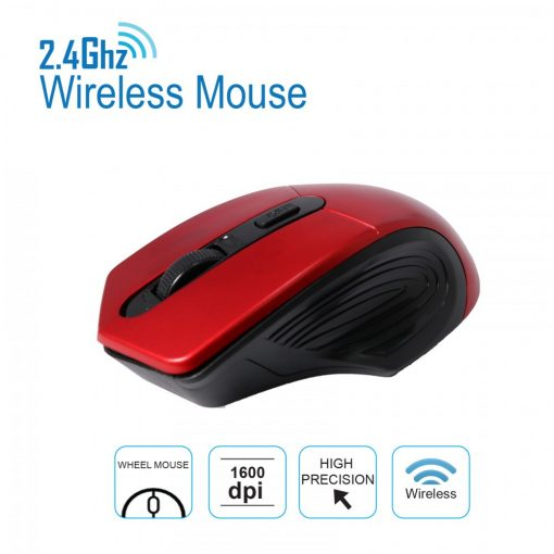 2.4 GHz 1600 DPI Wireless Mouse - Red