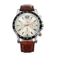 Men Casual Leather Watch - Brown