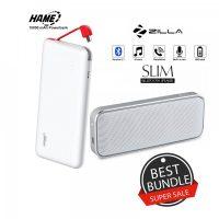 10000 mAh Slim Hame T6  Powerbank And Zilla  BT-202 Multifunction Speaker - White