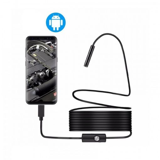 10 Meters  5.5 mm Waterproof Endoscope With LED Lights 1080p  For Smartphones and Computer - Black