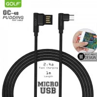 Golf GC-48 2.4A Micro USB Fast Charger And Data Transfer Elbow Type Fabric Cable With Reversible USB Connector 1 Meter - Black