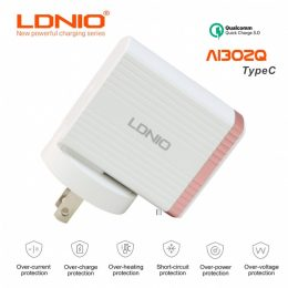 LDNIO AI302Q QC3.0 Extraordinary Intelligent Fast Charger With Type C Cable - Rose Gold