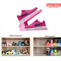 2 Pieces Adjustable Double Deck Shoe Rack Organizer 25 cm - Pink