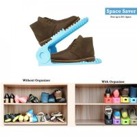 2 Pieces Adjustable Double Deck Shoe Rack Organizer 25 cm - Blue