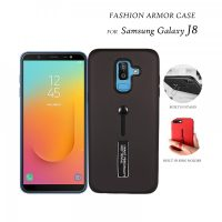 2 In 1 Armor Casing With Rubber Finger Holder and Metal Kick Stand For Samsung Galaxy J8 - Black