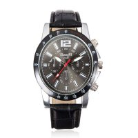Men Casual Leather Watch - Black