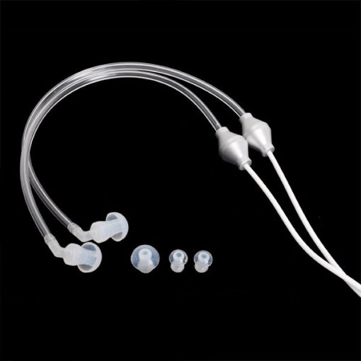 Silicone Air Pipe Stereo Earbuds Headphones with Microphone - White