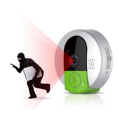 Wifi Doorbell Peephole Doorcam - Silver/Green