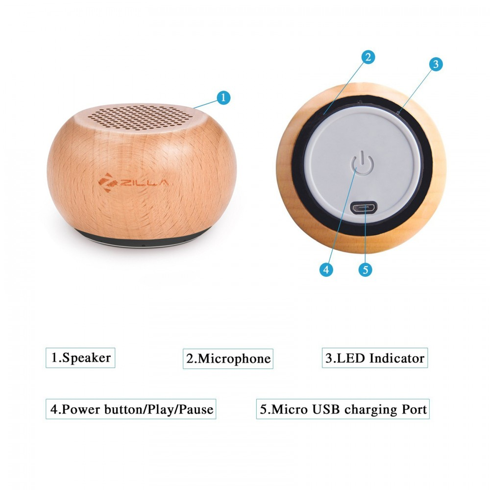 Zilla TWS Natural Wood Mini Pairable Wireless Speaker - Brown