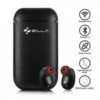 Zilla Wireless Bluetooth Earbuds Mini Bluetooth Earpiece Noise Cancelling Headphones with Mic and Powerbank - Black