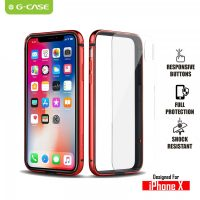 The Grand Series Aluminum Metal Bumper TPE Inner Frame with Removable Clear Back Panel for iPhone X - Red