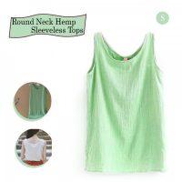 Round Neck Hemp Sleeveless Tops Small - Green