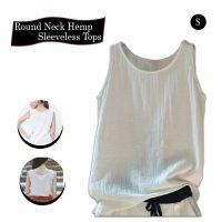 Round Neck Hemp Sleeveless Tops - White
