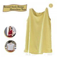 Round Neck Hemp Sleeveless Tops - Yellow