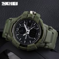 Skmei 1040 Dual Mode Sports Watch - Army Green