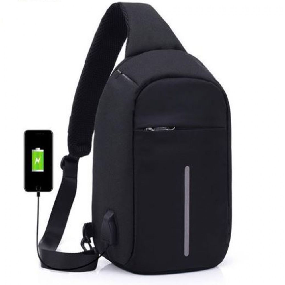 Anti Theft Sling Bag With USB Port - Black
