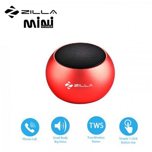 Zilla Mini Wireless Bluetooth Speaker with Multiple Speaker Wireless Pairing Function Single - Red