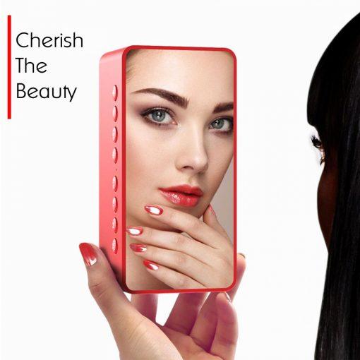Multifunction Bluetooth Alarm Led Clock Speaker Mirror - Red