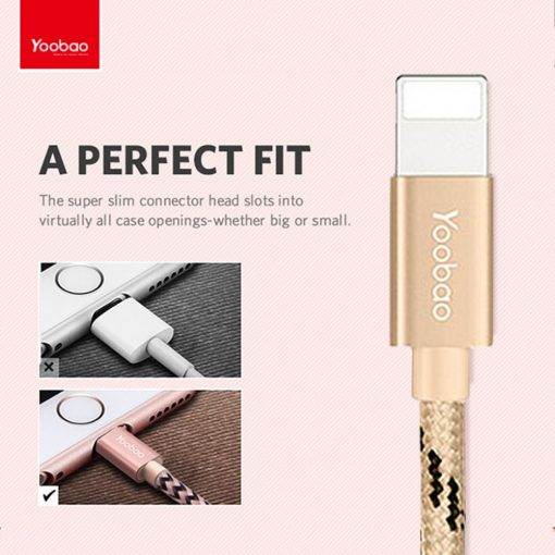 Yoobao 1.5 Meter Lightning Charging Sync Cable - Gold