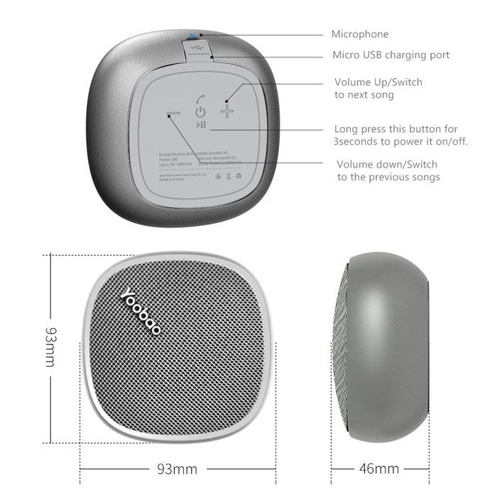 Yoobao M1 Portable Bluetooth Speaker - Pink