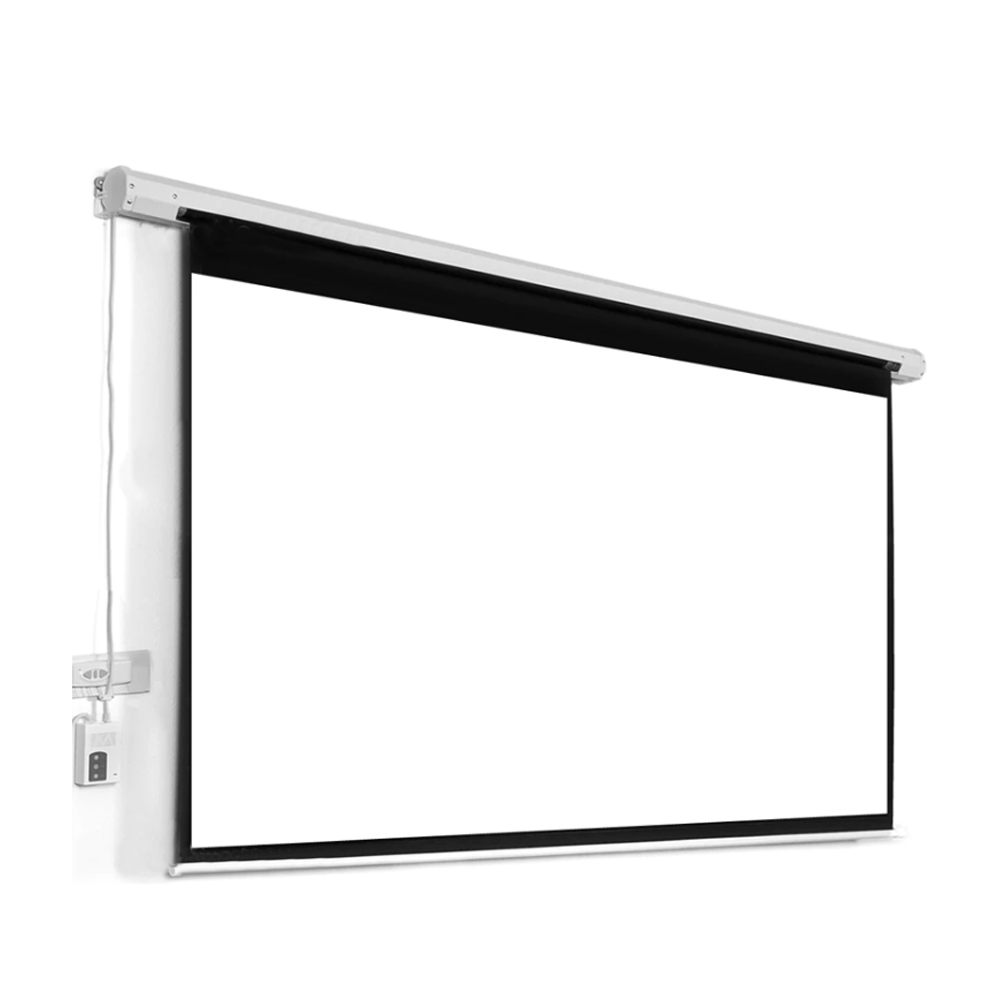 """100"""" 16:9 Electric Motorized Projection Screen - White"""