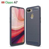 Oppo A7 Fashion Fiber Phone Case - Grey