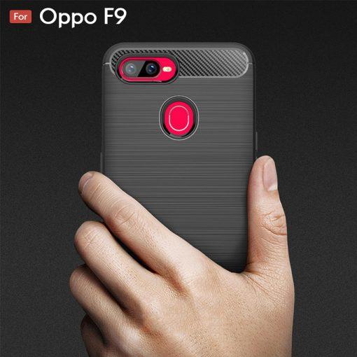 Oppo F9 Fashion Fiber Phone Case - Black